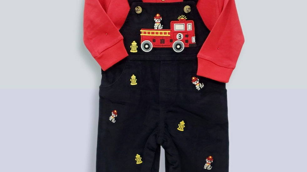 Black Corduroy Overall Set with Fire Truck