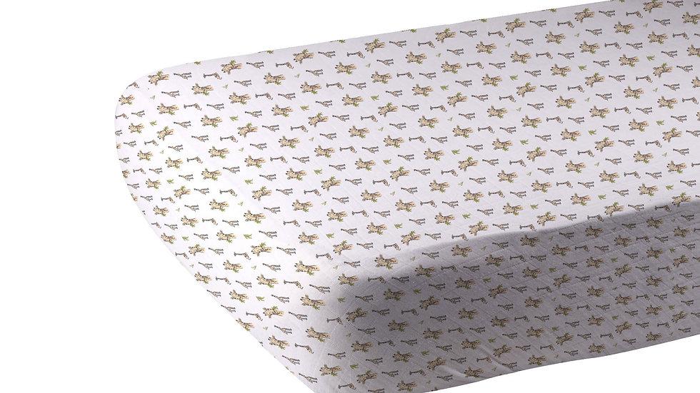 Hungry Giraffe Bamboo Muslin Crib Sheet