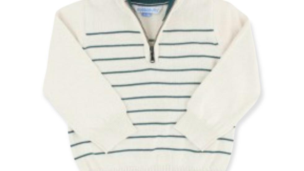 Ivory & Twilight Stripe Quarter Zip Sweater