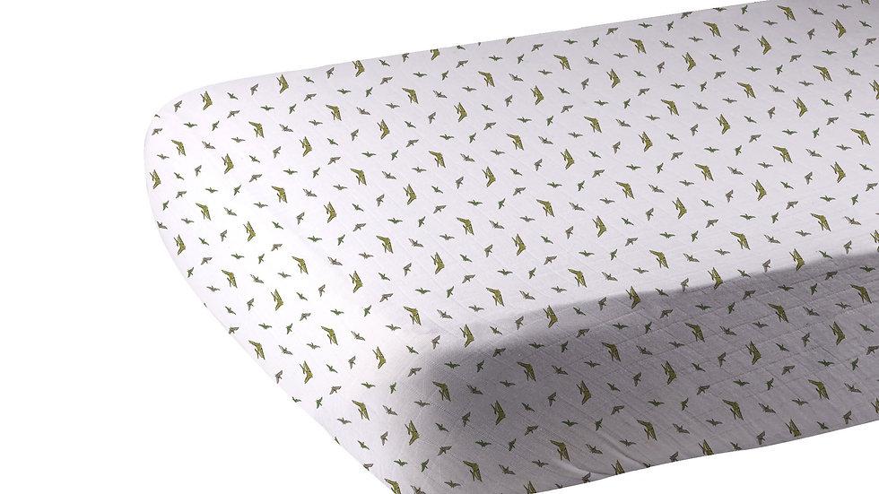 Pteranodon Cotton Muslin Crib Sheet
