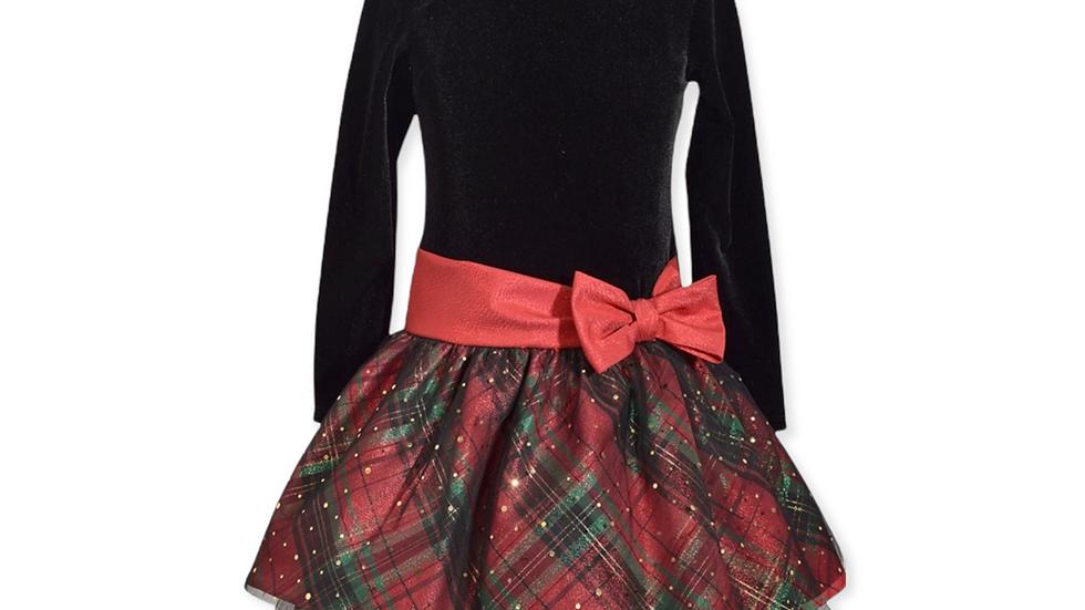 Black Velvet Red Plaid Dress