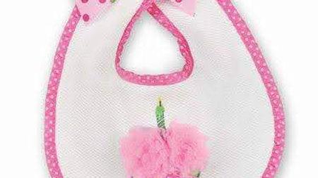 Her 1st Birthday Bib Cupcake Applique & Bow