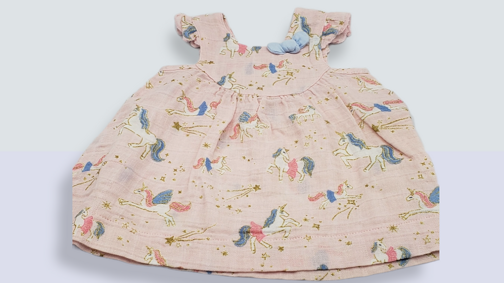 Printed Unicorn 2 Piece Baby Dress