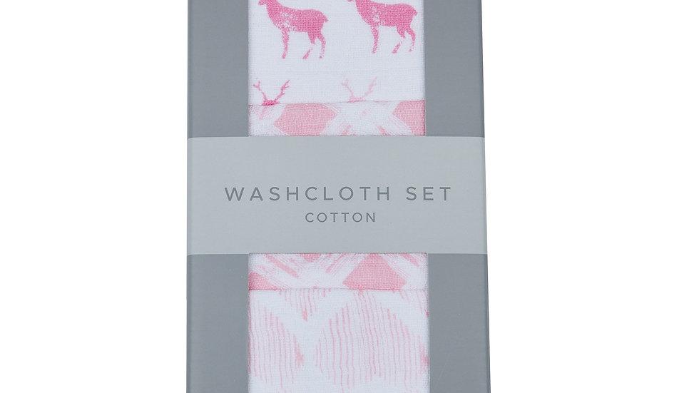 Pop of Pink Cotton Washcloth Set 3PK