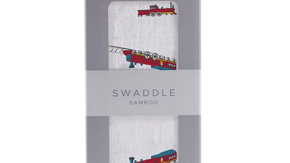 Vintage Steam Trains Bamboo Muslin Swaddle