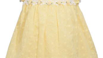Infant yellow flutter eyelet dress