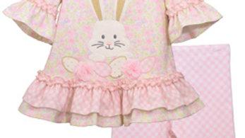Girls Floral Easter Bunny Applique Legging Set