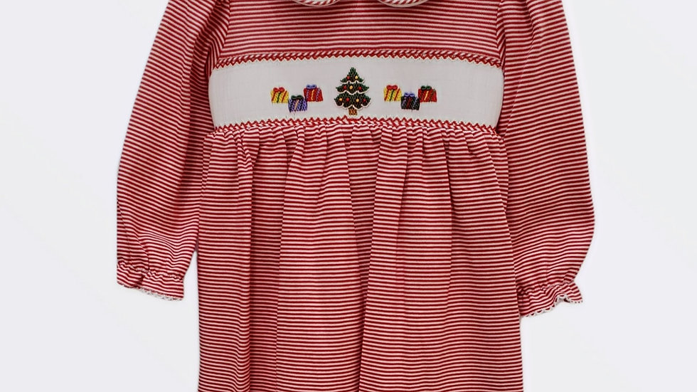 Candy Stripe Christmas Dress with Peter Pan Collar