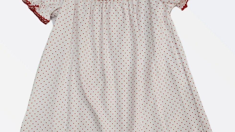 Smocked White Christmas Dress with Wreaths