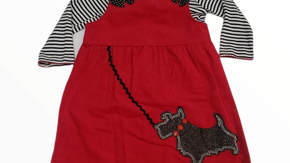 Red Corduroy Dress with Scottie