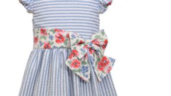 girls blue seersucker floral dress with hat