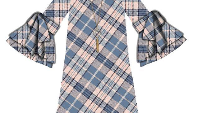 Girls Plaid Chiffon Bell Sleeve Dress