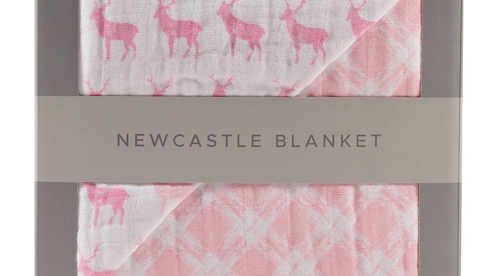 Pink Deer and Primrose Pink Plaid Cotton Muslin Newcastle Blanket
