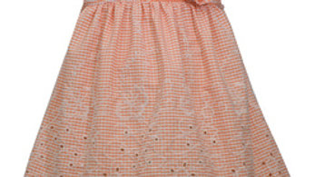 Infant peach embroidery dress