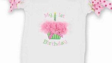 Her 1st Birthday Onesie Cupcake Applique