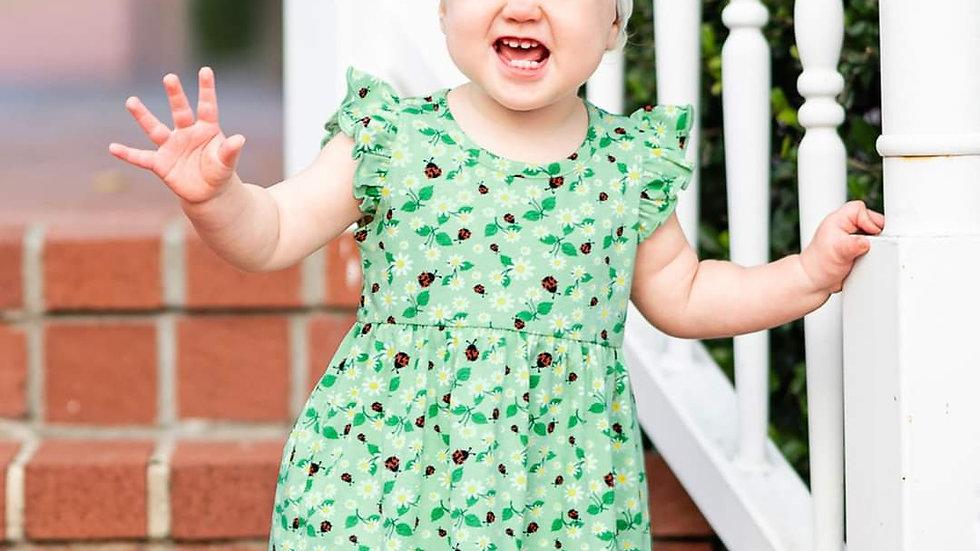 Daisies & Ladybugs Flutter Dress