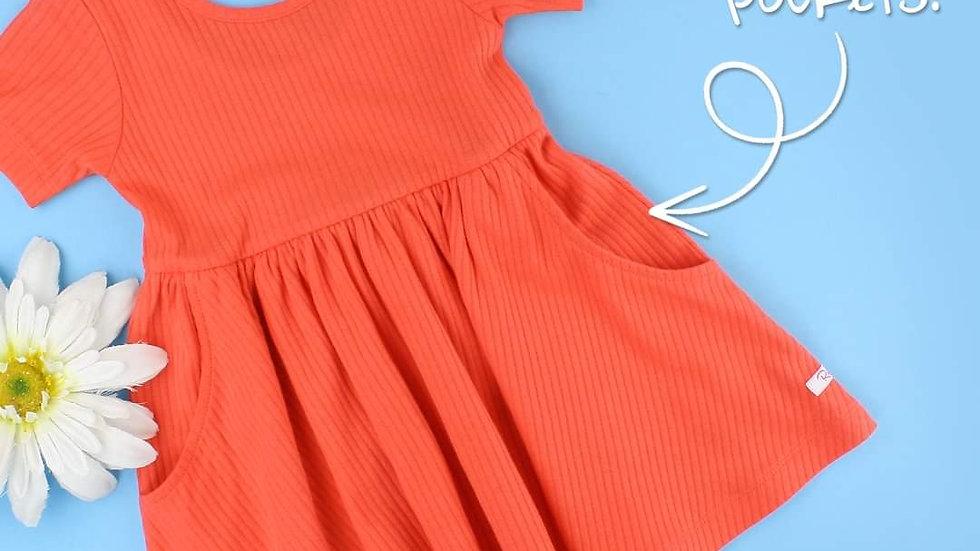 Sunset Ribbed Twirl Dress