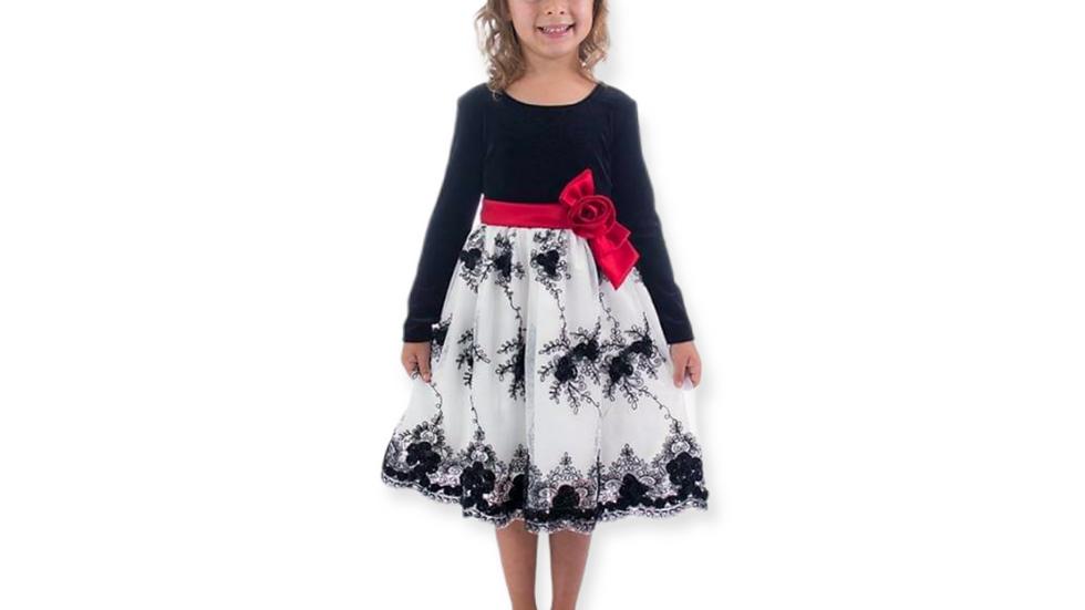 Black/Ivory Velvet Long Sleeve Dress