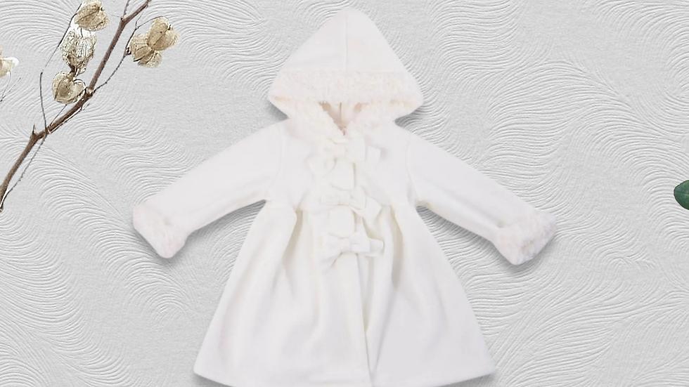 Ivory Fur Trim Lightweight Dress Coat with Hood