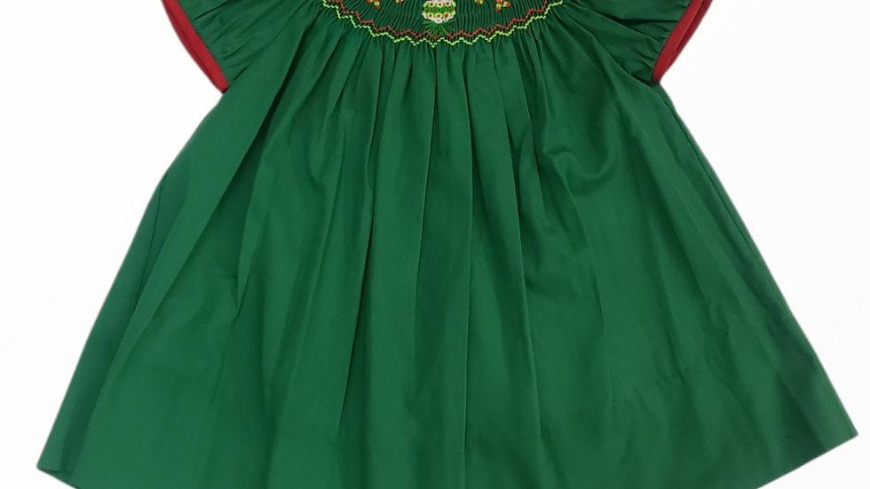 Smocked Green Christmas Bishop Dress