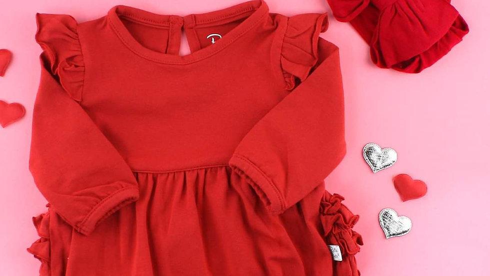 Red Ruffled Long Sleeve Bodysuit