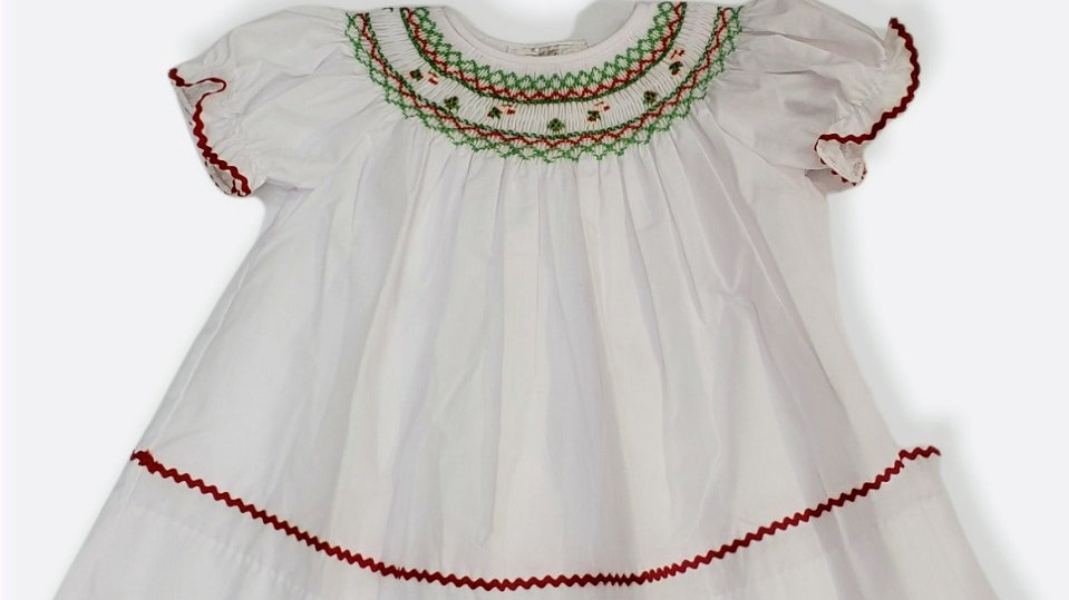White Bishop Smock Dress with Candy Canes