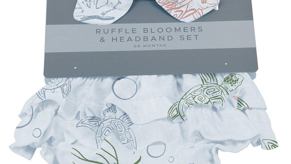 Turtles Ruffle Bamboo Bloomer Headband Set