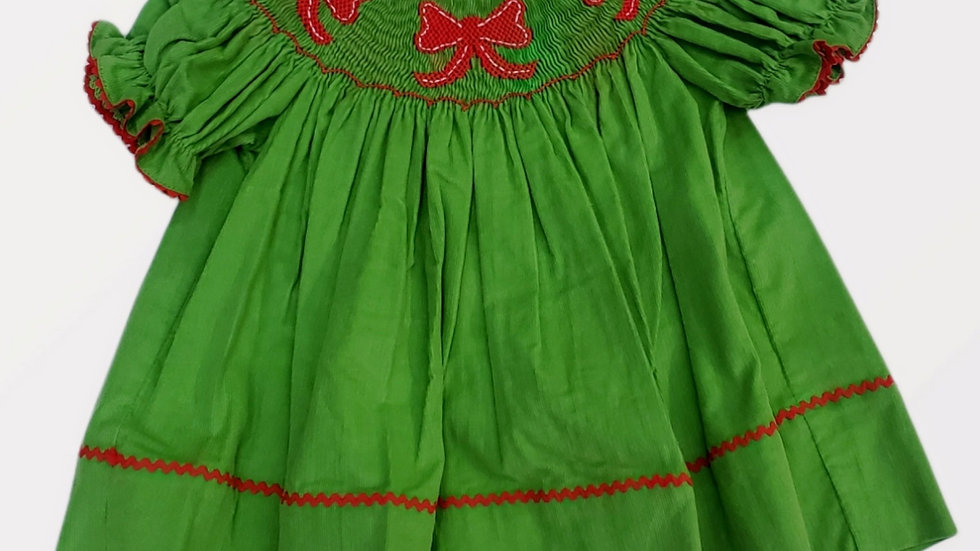 Smocked Green Corduroy Christmas Dress with Red Bows