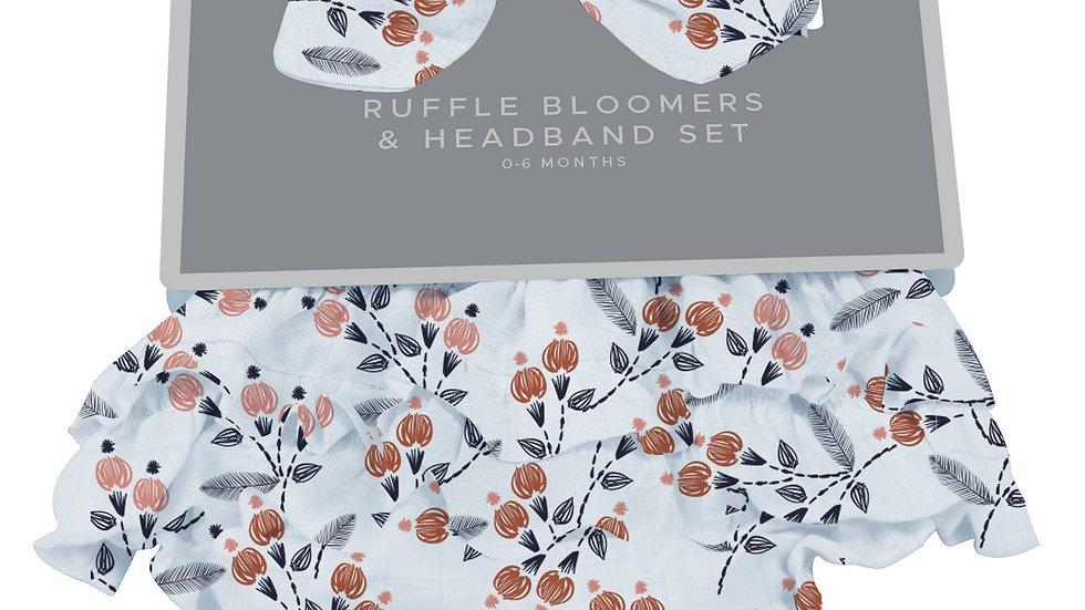 Dahlia Floral Bamboo Bloomer Headband Set