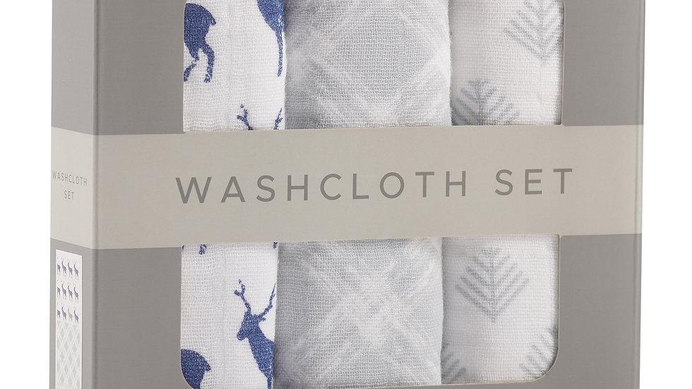 Blue Deer Cotton Washcloth Set 3PK
