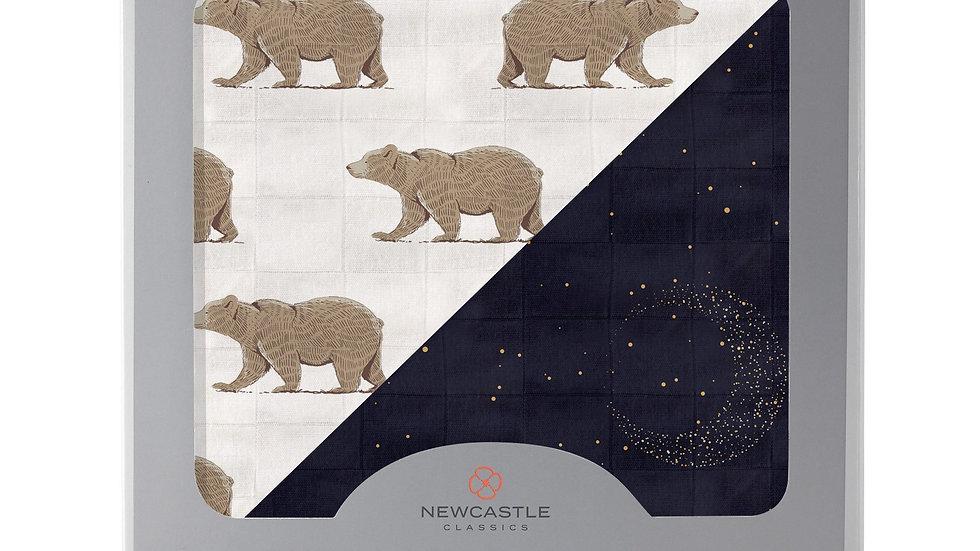 Goodnight Bear and Midnight Moon Bamboo Muslin Newcastle Blanket