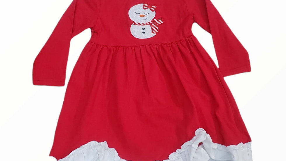 Red & White Christmas Dress with Snowman