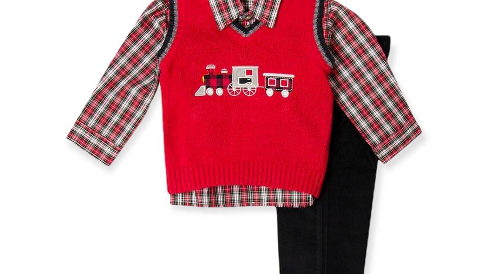 Navy Train Applique Sweater Set