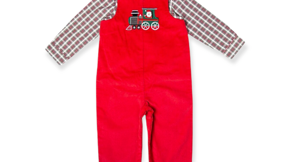 Red Corduroy Overall Set with Train Applique
