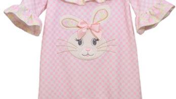 Infant gingham bunny floral applique romper