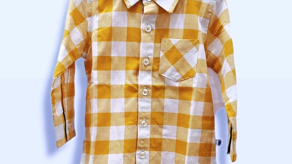 Golden Yellow Plaid Button Down Shirt