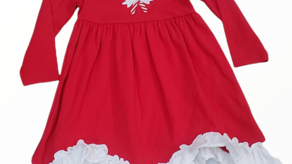 Red & White Christmas Dress with Candy Canes