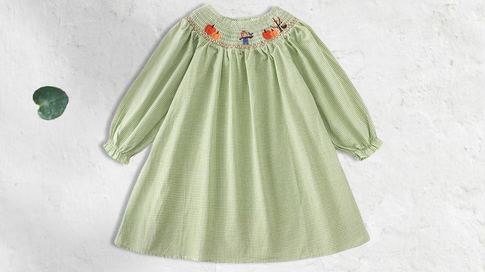 Green Plaid Pumpkin Smock Dress