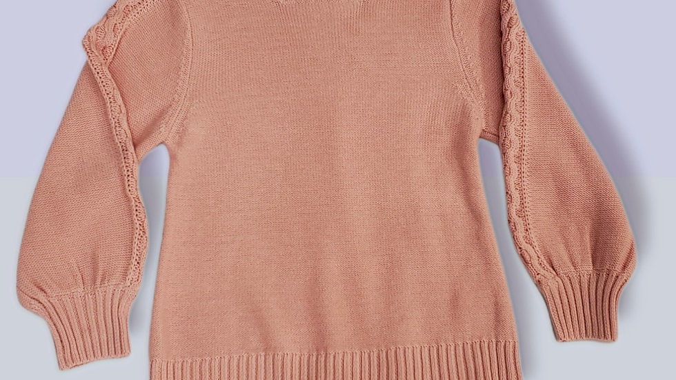 Ballet Pink Cable Sweater
