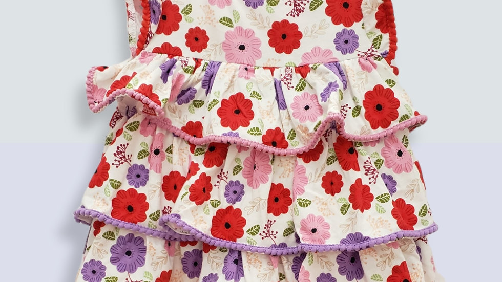Red, White & Lavender Ruffled 2 Piece Dress