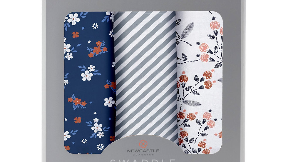 Blooms Floral Bamboo Muslin Swaddle 3PK