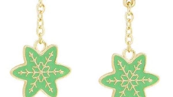 Green Snowflake Earrings