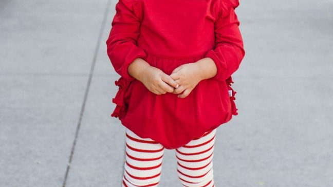 White & Red Footless Ruffle Tights