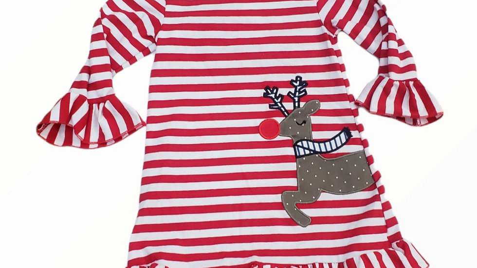 Red Stripe Reindeer Applique Ruffle Dress