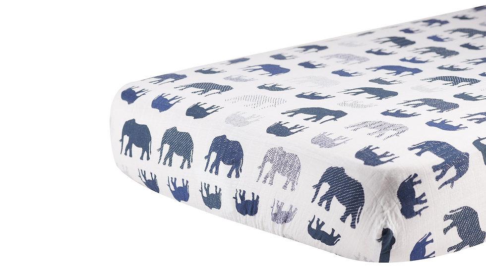 Blue Elephant Cotton Muslin Crib Sheet