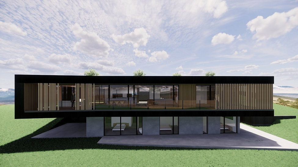 Designed by Tony Richardson New residence over looking the plains and Lake Hawea