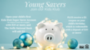 "White piggy bank surrounded by christmas lights and decorations - ""Young Savers: Join Our Kids Club"" with disclosure information."