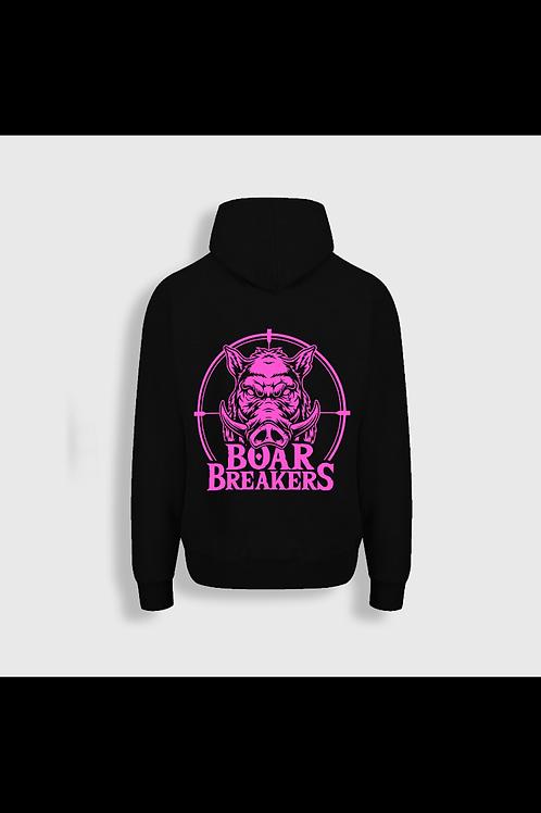 Black With Pink Logo Hoodie