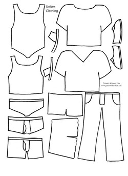 """Unisex clothing for 9 3/4"""" paper doll"""