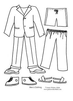 "Men's clothing for 9 3/4"" paper doll"